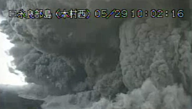 Mount Shindake erupted about 10 a.m. Friday local time in southern Japan.