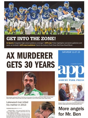 Asbury Park Press front page, Saturday, November 7, 2015
