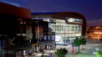 The future Milwaukee Bucks arena is lit up on Sunday evening July 15.