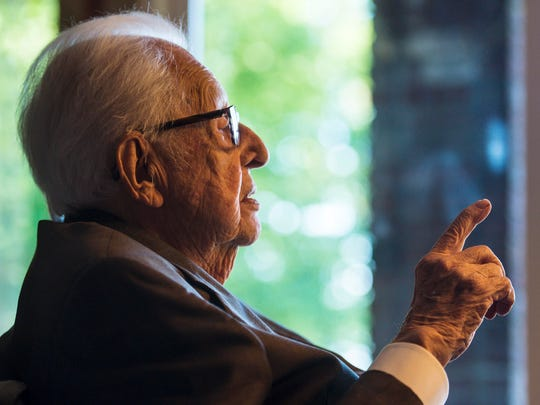 Antonio Pomerleau reflects on the occasion of his 100th birthday at his home in Burlington on Wednesday, August 30, 2017. Pomerleau was born on September 28, 1917. His family announced his death Friday morning.