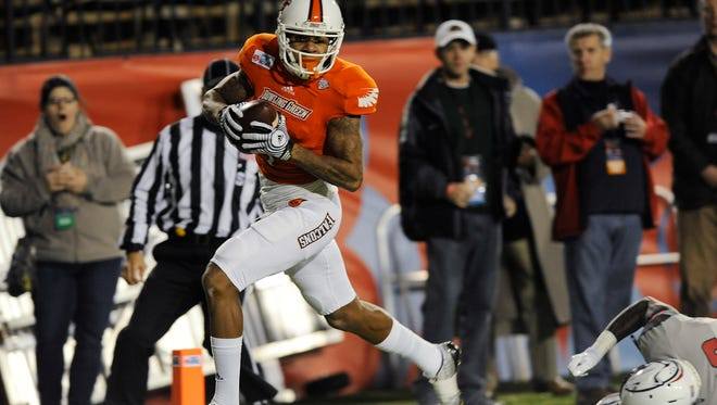 Bowling Green wide receiver Roger Lewis (1) hauls in a first quarter touchdown against South Alabama in the Raycom Media Camellia Bowl at Cramton Bowl in Montgomery, Ala. on Saturday December 20, 2014.