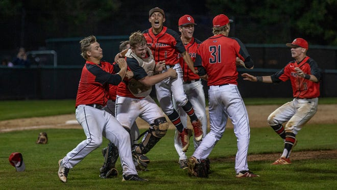Hunterdon Central celelbrate their state final win. Hunterdon Central  Baseball vs Westfield in NJSIAA Group 4 State Final in Hamilton, NJ in June 11, 2018.