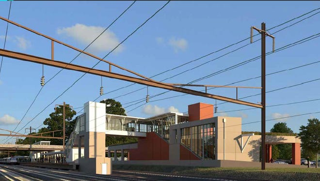 An artist rendering of the completed train station set to be built near the University of Delaware campus. Long delayed, construction is set to conclude on the first phase by early next year.