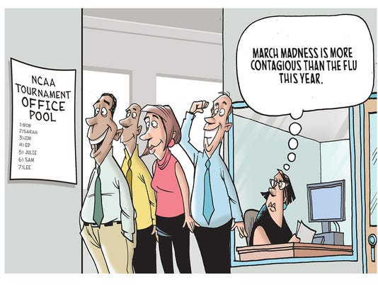 The winner of our March Madness cartoon caption contest