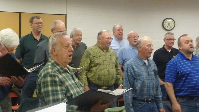 Maennerchor members rehearse.