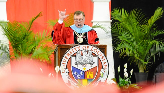 UL President Joseph Savoie gives welcoming remarks at UL graduation. Budgets cuts make attending, graduating college harder in Louisiana.