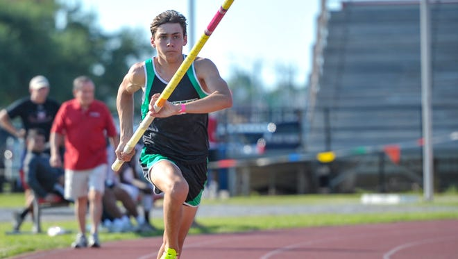 Armand Duplantis competes in the pole vault event at the Beaver Relays.