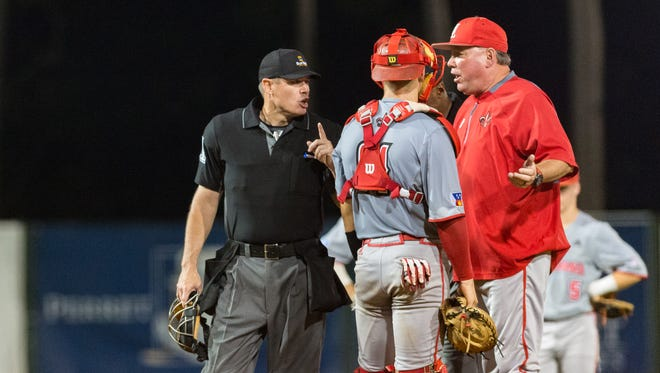 Coach Tony Robichaux argues a call during UL's recent Sun Belt Tournament loss to Texas State. With the Ragin' Cajuns' 2018 season done, Robichaux seeks a more-physical club next year.