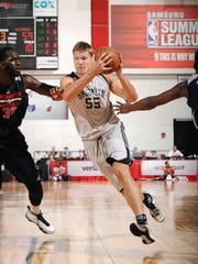 Egidijus Mockevicius of the Brooklyn Nets drives to the basket during a game against the Washington Wizards during the 2016 Las Vegas Summer League on July 12 at the Cox Pavilion in Las Vegas.
