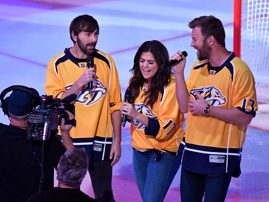 Lady Antebellum sings the National Anthem before game