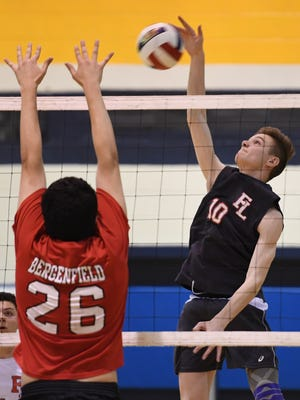 Fair Lawn vs. Bergenfield in the Bergen County volleyball tournament final at Hackensack High School on Thursday, May 10, 2018. FL #10 Mark Berry.