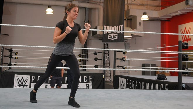 Kacy Catanzaro trains at the WWE Performance Center in Orlando. She'll be moving to Florida full-time starting in January to prepare to become a WWE Superstar.