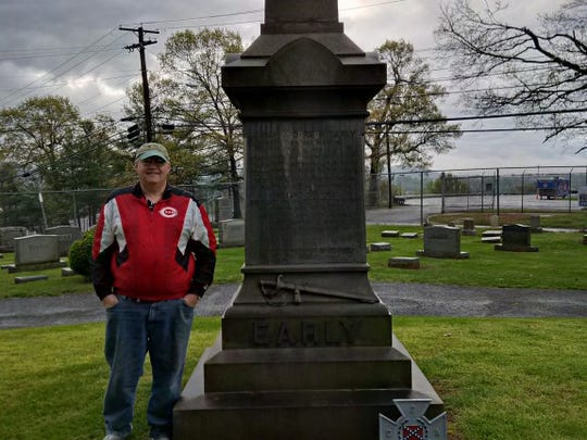 Scott Mingus standing by Jubal Early's grave in Lynchburg, VA, prior to driving to Appomattox.