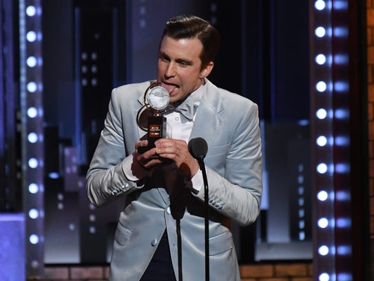Gavin Creel accepts the award for best featured actor