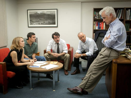 "This photo provided by Open Road Films shows, Rachel McAdams, from left, as Sacha Pfeiffer, Mark Ruffalo as Michael Rezendes, Brian d'Arcy James as Matt Carroll, Michael Keaton as Walter ""Robby"" Robinson and John Slattery as Ben Bradlee Jr., in a scene from the film, ""Spotlight."" Nominations for the 22nd annual Screen Actors Guild Awards in six film and eight television categories will be announced on Wednesday morning, Dec. 9, 2015, in Los Angeles. (Kerry Hayes/Open Road Films via AP)"