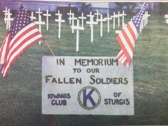 The Sturgis Kiwanis club set up a memorial for fallen soldiers for Memorial Day in 2001.