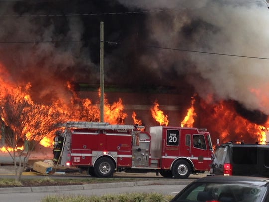 Knoxville Fire Department crews responded to a fire at a building under construction on the corner of Kingston Pike and Homberg Place in Bearden on Thursday.
