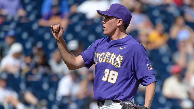 LSU Tigers pitcher Zack Hess (38) struck out 13 on Friday night.