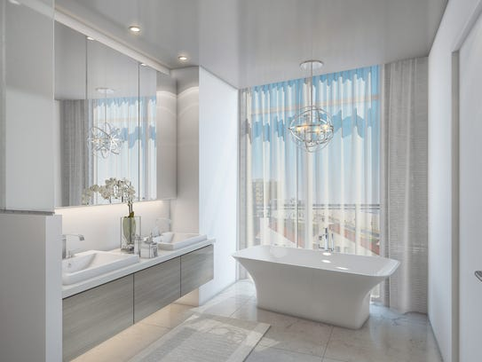 A rendering of a South Beach unit's bathroom with ocean