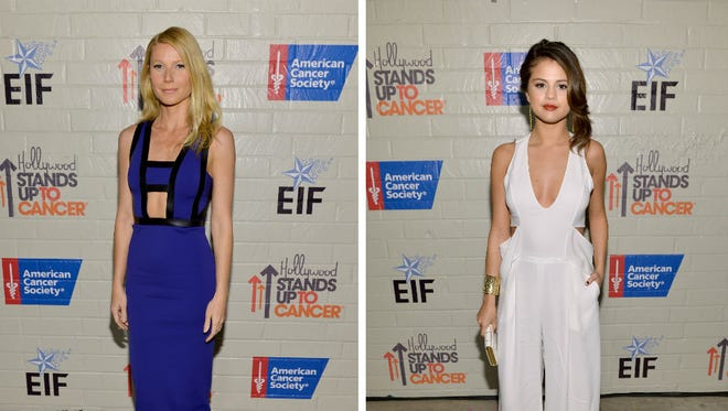 Gwyenth Paltrow and Selena Gomez strut their stuff at the Entertainment Industry Foundation's Hollywood Stands up to Cancer event on Jan. 28, 2014 in Culver City, Calif.