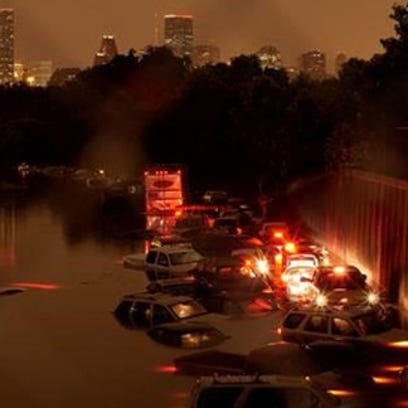 Flooding on Interstate 45 in Houston after severe rains
