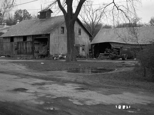 A 1968 view of the Calkins horse barn in the Intervale before it was restored.