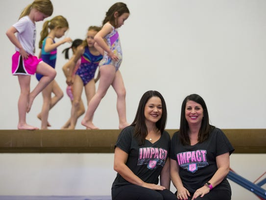 Impact Gymnastics co-owners Samantha Baltierrez, left,