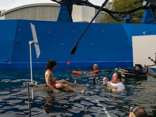 Neel Sethi shooting the Baloo water scene for 'The