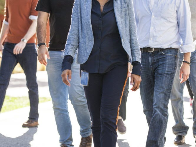 Maxine Williams, Facebook's Global Head of Diversity is photographed as she walks though the Facebook headquarters campus in Menlo Park, CA in November 2014. Williams is charged with making Facebook more diverse.