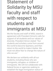 """Nearly 700 Michigan State University faculty and staff have signed a """"statement of solidarity"""" with foreign students who may be impacted by recent executive orders regarding immigration."""