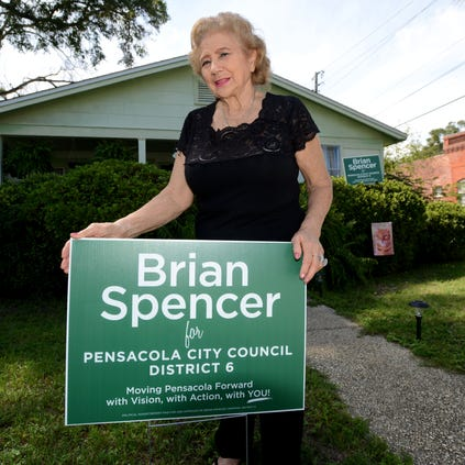 Dorris Barberi is photographed at her home on Alcaniz Street where she has allegedly had her Brian Spencer campaign signs stolen twice in recent days.