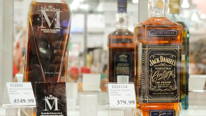 A bottle of Macallan M scotch for $4,549 available at Cosco.