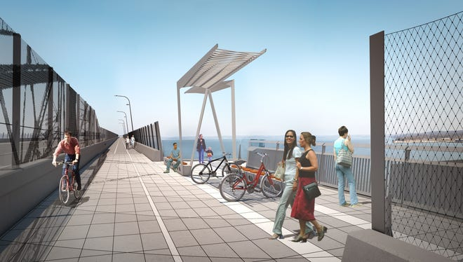 A rendering of the bicycle and walking path that will be part of the new Tappan Zee Bridge.