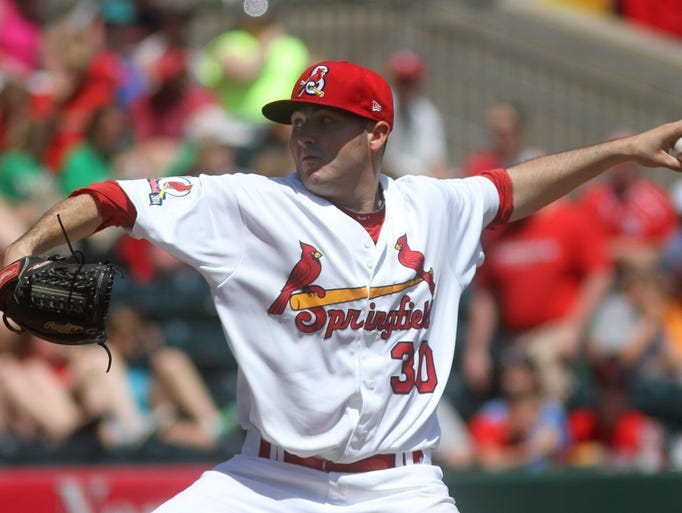 Kyle Hald of the Springfield Cardinals pitches against the Tulsa Drillers at Hammons Field on Tuesday, May 6, 2014.