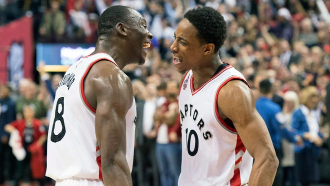Toronto Raptors guard DeMar DeRozan (10) and  teammate Bismack Biyombo could both be re-signed by the team this summer.