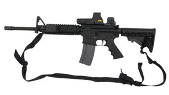 This rifle, an LAR-15 Rock River Arms rifle, was stolen