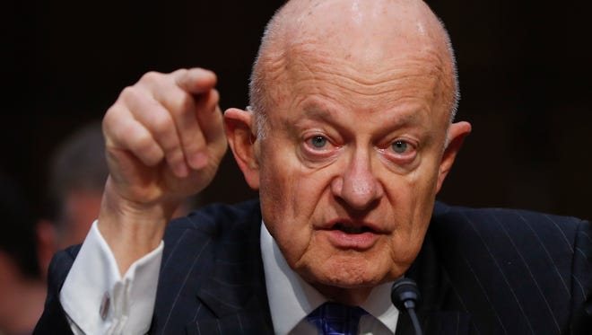 Former National Intelligence Director James Clapper testifies on Capitol Hill in Washington, D.C., before the Senate Judiciary subcommittee on Crime and Terrorism on May 14, 2017.