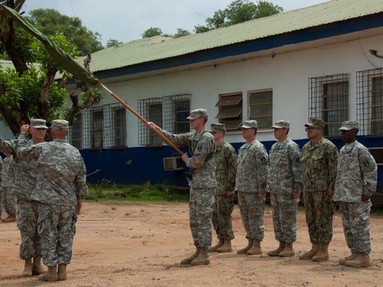 Fort Campbell based 86th Combat Support Hospital cases colors in Liberia