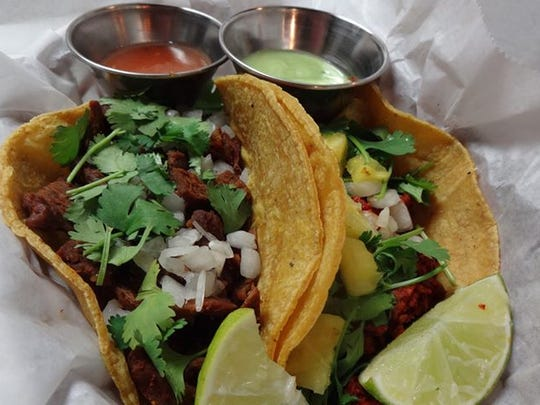 The Mexican restaurant in Glendale features vegan tacos, including the carne asada (left) made from grilled veggie protein and the al pastor (right) made with a soy-based mock meat.