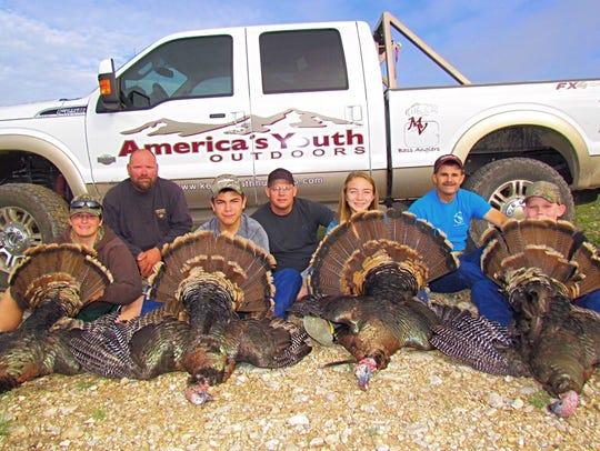 Donald R. Kemp Youth Hunting Club members hunt turkeys