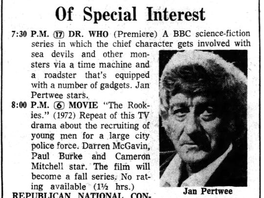 """The American television debut of """"Doctor Who"""" on Aug."""