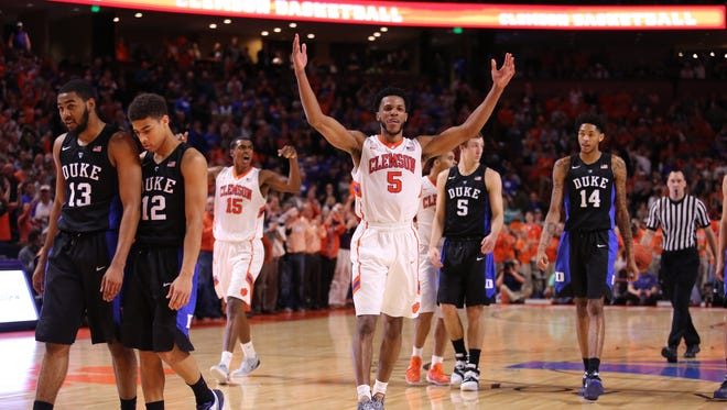 Clemson Tigers forward Jaron Blossomgame (5) celebrates at the end of the buzzer against the Duke Blue Devils in the second half at Bon Secours Wellness Arena. The Tigers won 68-63.