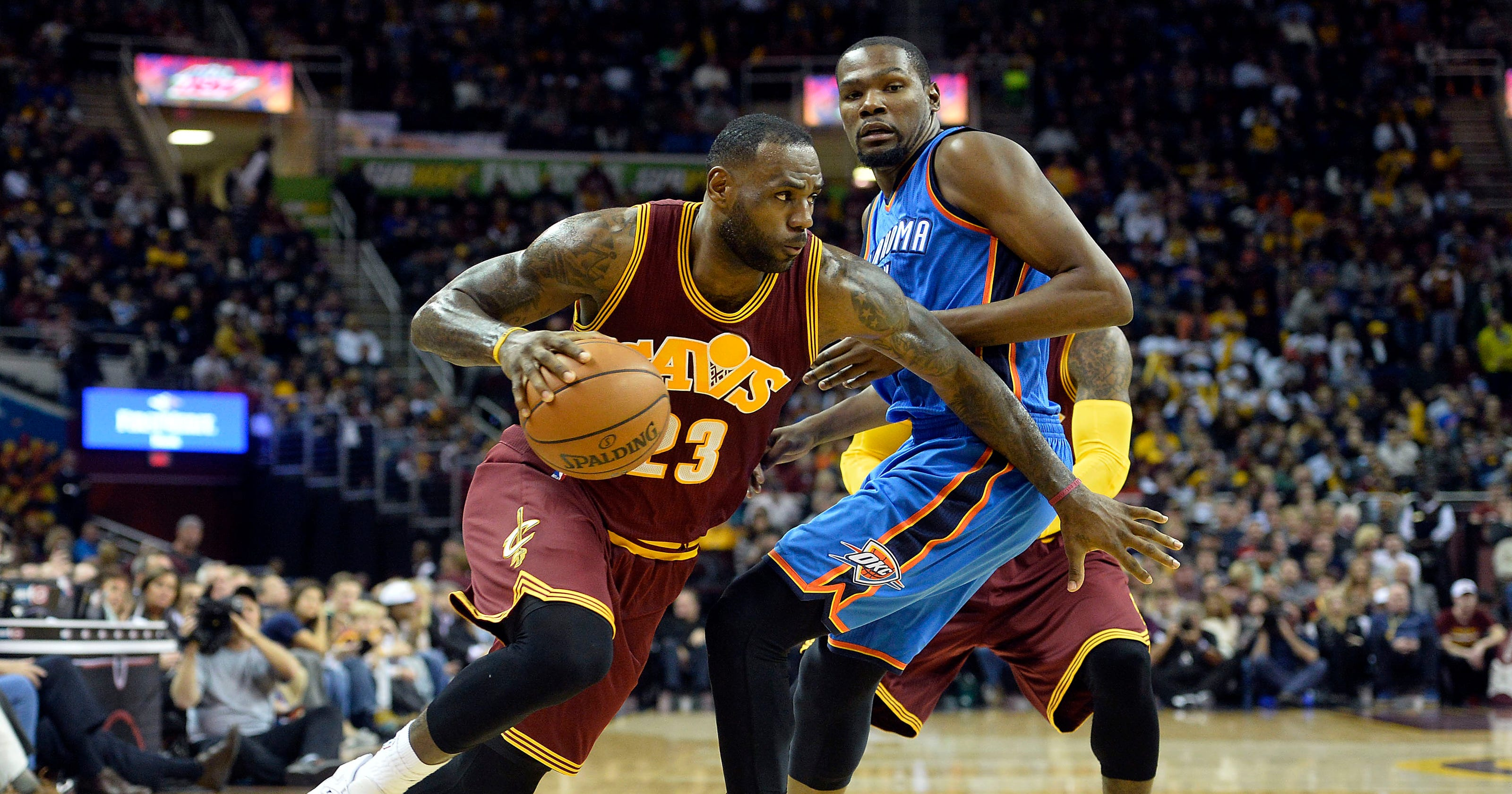 d22a0f7a588 Cavaliers top Thunder after LeBron James plows into crowd