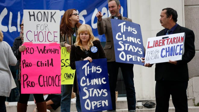 A rally at an abortion clinic in Jackson, Miss., in 2013.
