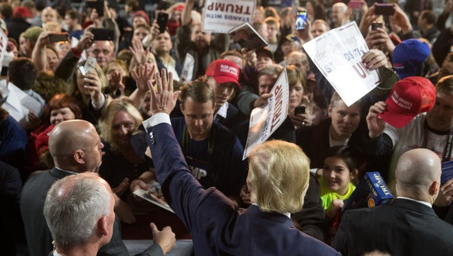 Donald Trump campaigns in Muscatine, Iowa, on Jan. 24, 2016.