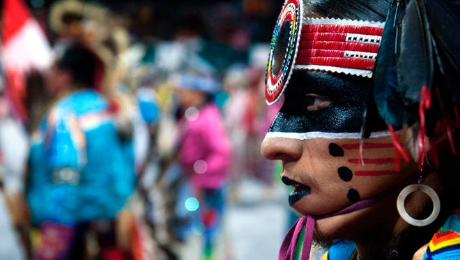Dancer of the Navajo Nation during the Grand Entry of the Denver March Powwow in Denver, Colo. on March 24, 2017