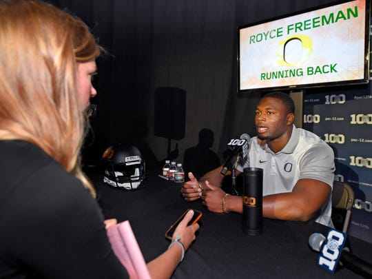 Oregon running back Royce Freeman speaks to reporters during NCAA college Pac-12 Football Media Days, Friday, July 31, 2015, in Burbank, Calif.