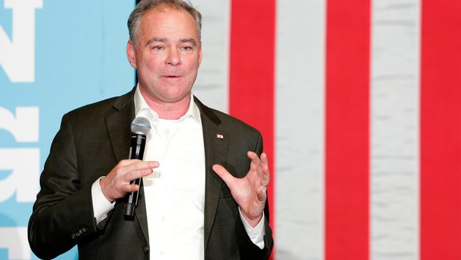 Democratic vice presidential candidate Tim Kaine speaks Sunday at the University of Wisconsin-Green Bay.