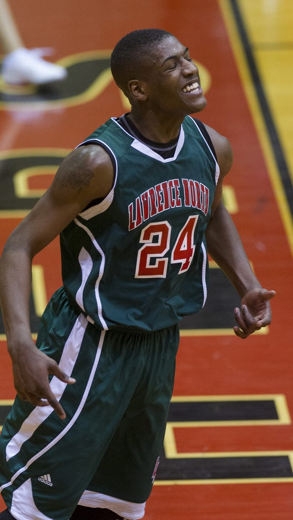 Lawrence North High School senior Daeshon Francis (24)