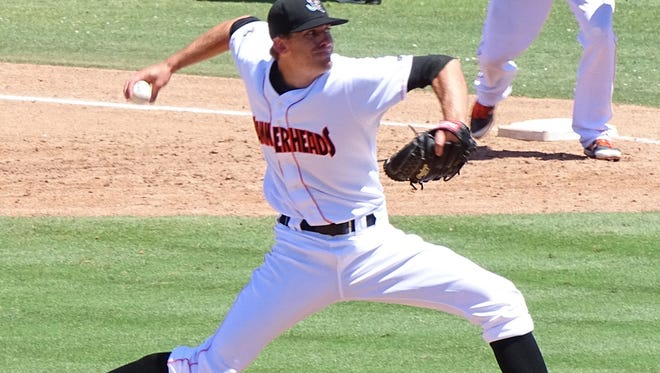 Ben Meyer pitching for the Jupiter Hammerheads, a minor league affiliate of the Miami Marlins.